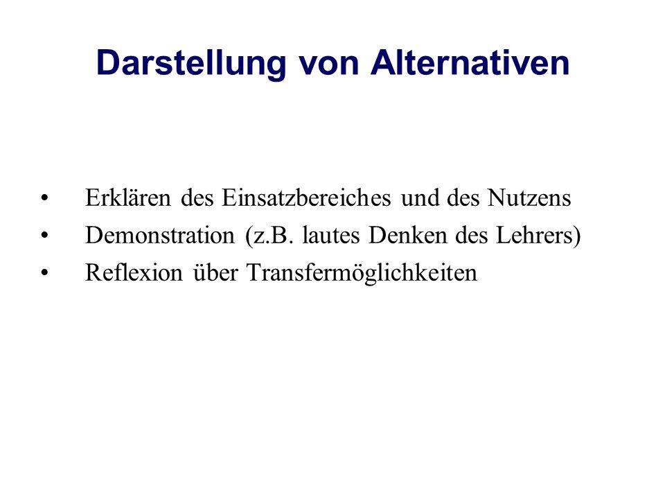 Darstellung von Alternativen Erklären des Einsatzbereiches und des Nutzens Demonstration (z.B.