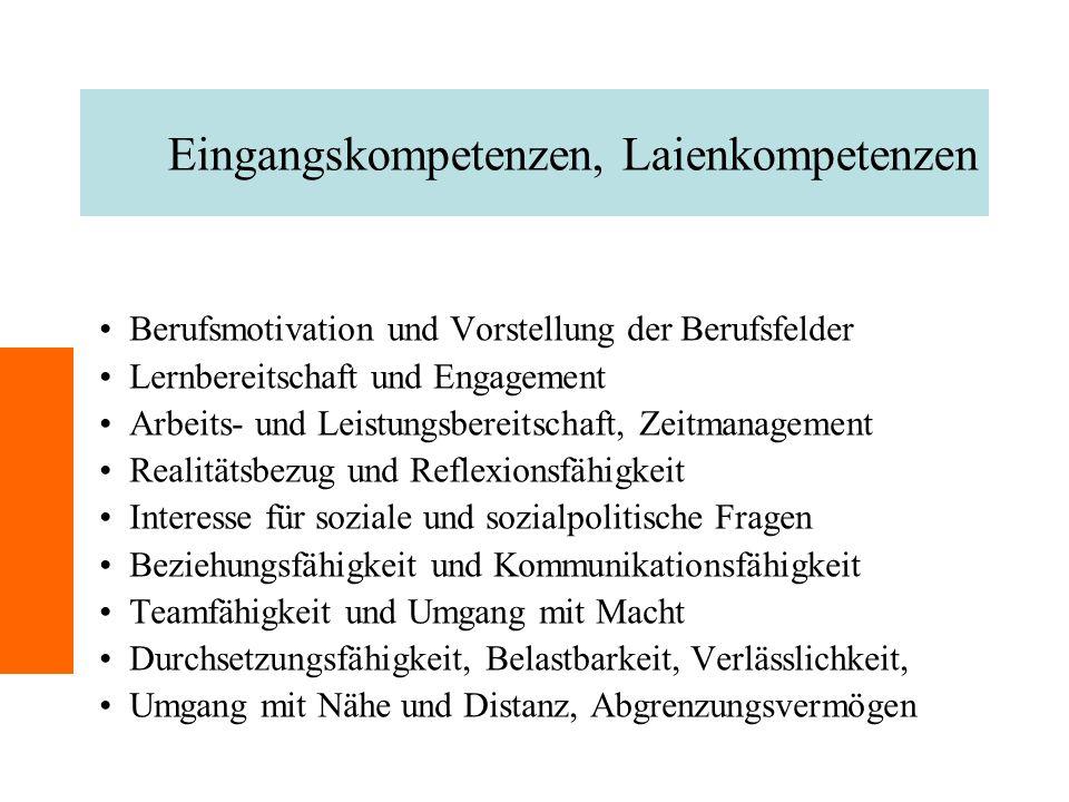 Eingangskompetenzen, Laienkompetenzen Berufsmotivation und Vorstellung der Berufsfelder Lernbereitschaft und Engagement Arbeits- und Leistungsbereitsc