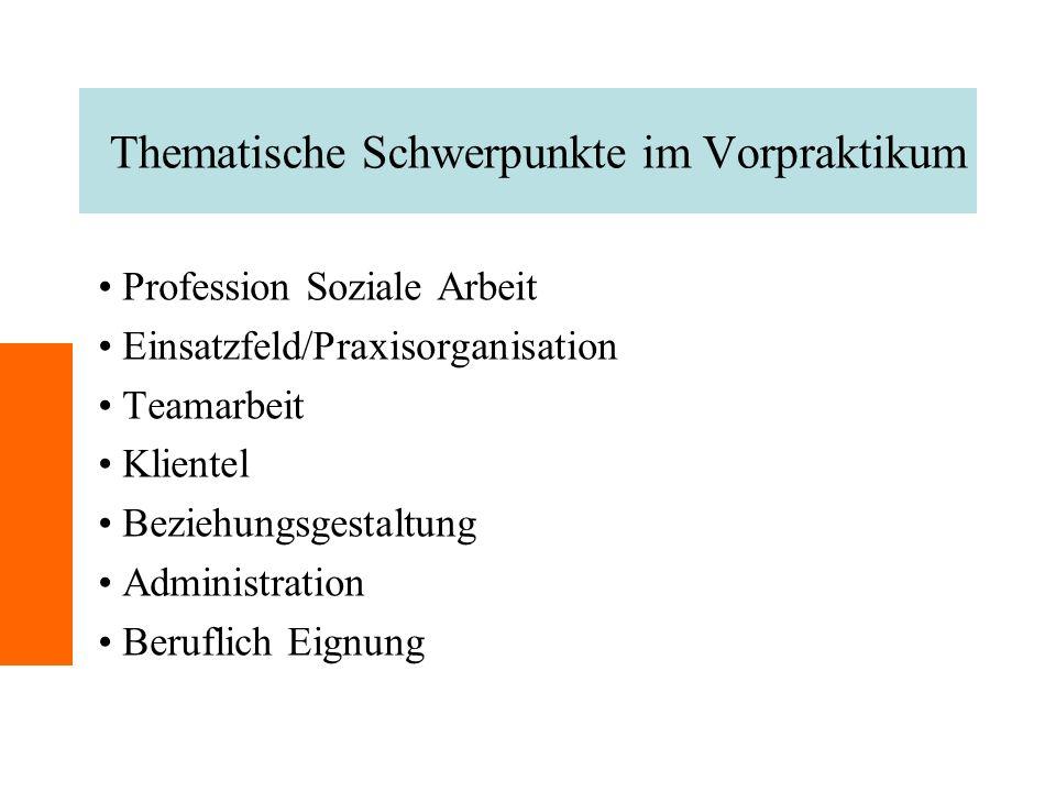 Thematische Schwerpunkte im Vorpraktikum Profession Soziale Arbeit Einsatzfeld/Praxisorganisation Teamarbeit Klientel Beziehungsgestaltung Administration Beruflich Eignung