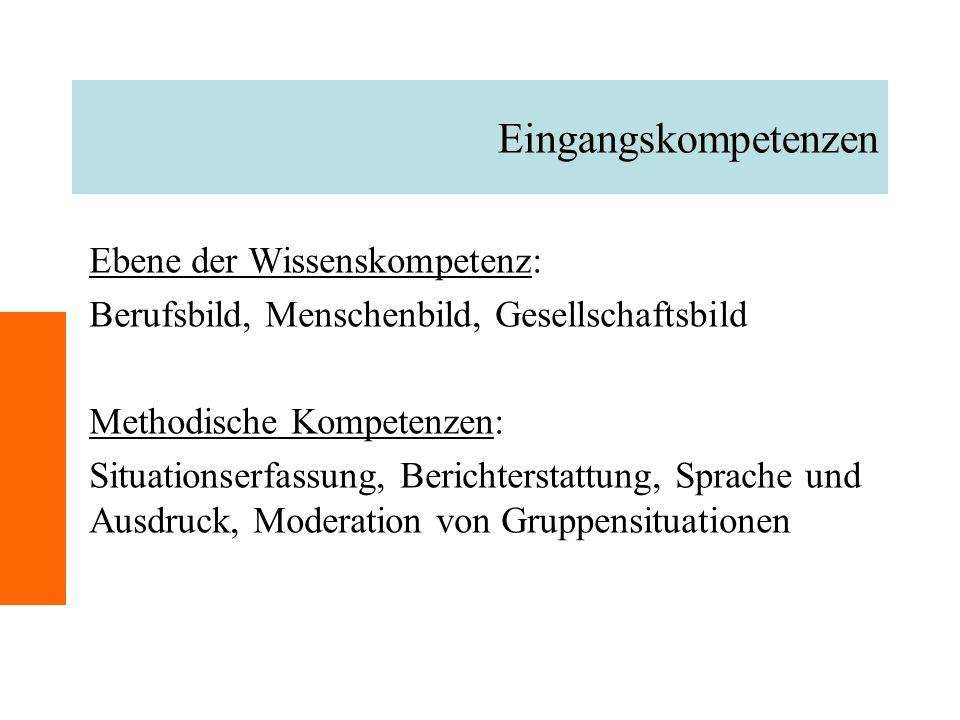 Eingangskompetenzen Ebene der Wissenskompetenz: Berufsbild, Menschenbild, Gesellschaftsbild Methodische Kompetenzen: Situationserfassung, Berichterstattung, Sprache und Ausdruck, Moderation von Gruppensituationen