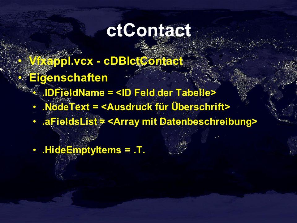 ctContact Vfxappl.vcx - cDBIctContact Eigenschaften.IDFieldName =.NodeText =.aFieldsList =.HideEmptyItems =.T.