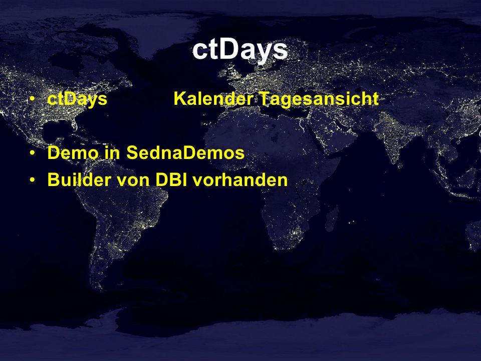 ctDays ctDaysKalender Tagesansicht Demo in SednaDemos Builder von DBI vorhanden