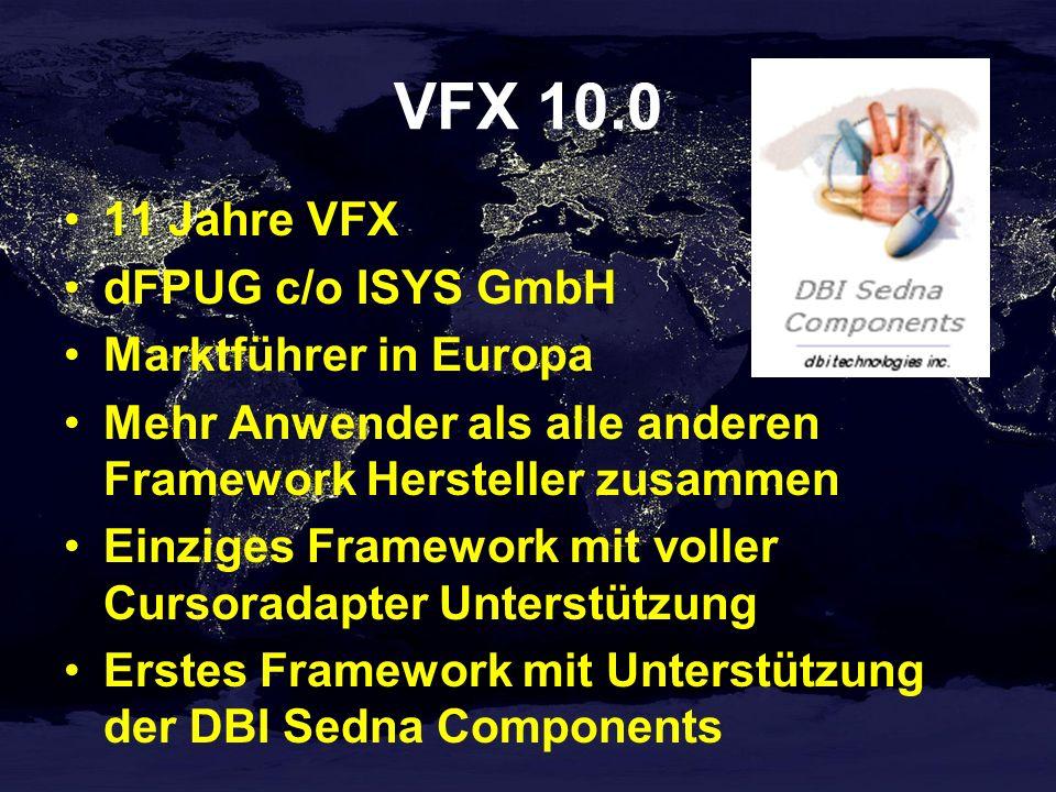 VFX 10.0 11 Jahre VFX dFPUG c/o ISYS GmbH Marktführer in Europa Mehr Anwender als alle anderen Framework Hersteller zusammen Einziges Framework mit voller Cursoradapter Unterstützung Erstes Framework mit Unterstützung der DBI Sedna Components