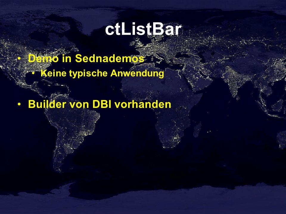 ctListBar Demo in Sednademos Keine typische Anwendung Builder von DBI vorhanden