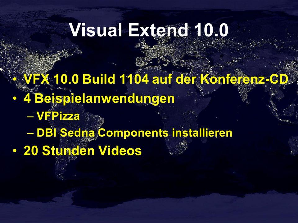 Visual Extend 10.0 VFX 10.0 Build 1104 auf der Konferenz-CD 4 Beispielanwendungen –VFPizza –DBI Sedna Components installieren 20 Stunden Videos