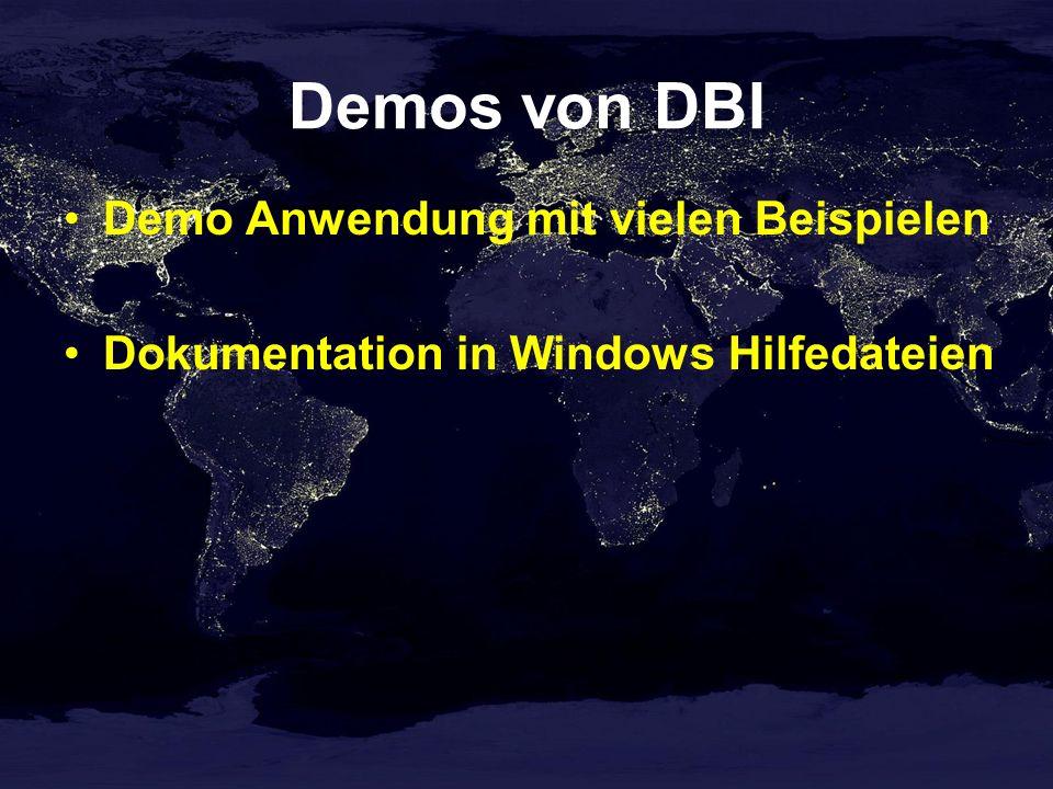 Demos von DBI Demo Anwendung mit vielen Beispielen Dokumentation in Windows Hilfedateien
