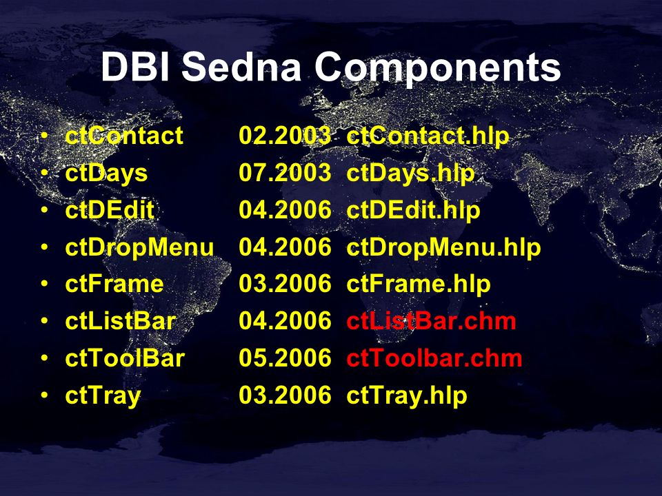DBI Sedna Components ctContact02.2003 ctContact.hlp ctDays07.2003 ctDays.hlp ctDEdit04.2006 ctDEdit.hlp ctDropMenu04.2006 ctDropMenu.hlp ctFrame03.2006 ctFrame.hlp ctListBar04.2006 ctListBar.chm ctToolBar05.2006 ctToolbar.chm ctTray03.2006 ctTray.hlp