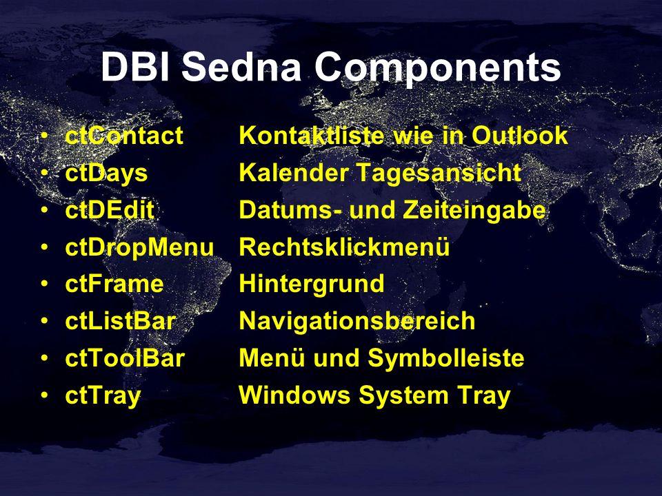 DBI Sedna Components ctContactKontaktliste wie in Outlook ctDaysKalender Tagesansicht ctDEditDatums- und Zeiteingabe ctDropMenuRechtsklickmenü ctFrameHintergrund ctListBarNavigationsbereich ctToolBarMenü und Symbolleiste ctTrayWindows System Tray