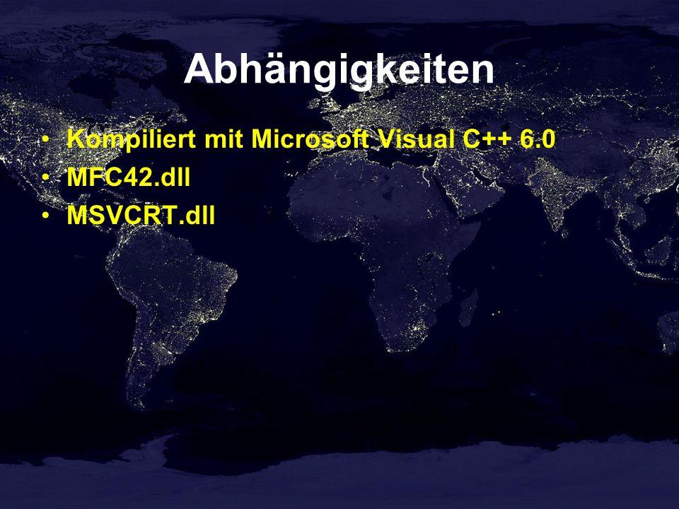 Abhängigkeiten Kompiliert mit Microsoft Visual C++ 6.0 MFC42.dll MSVCRT.dll
