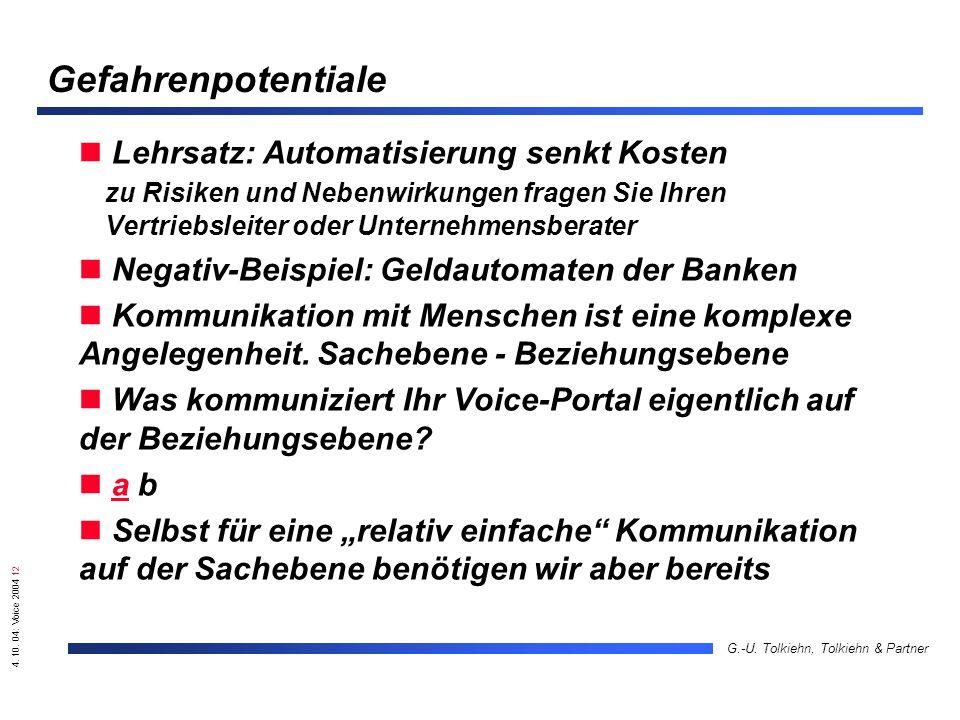 4. 10. 04: Voice 2004 12 G.-U. Tolkiehn, Tolkiehn & Partner Gefahrenpotentiale Lehrsatz: Automatisierung senkt Kosten zu Risiken und Nebenwirkungen fr