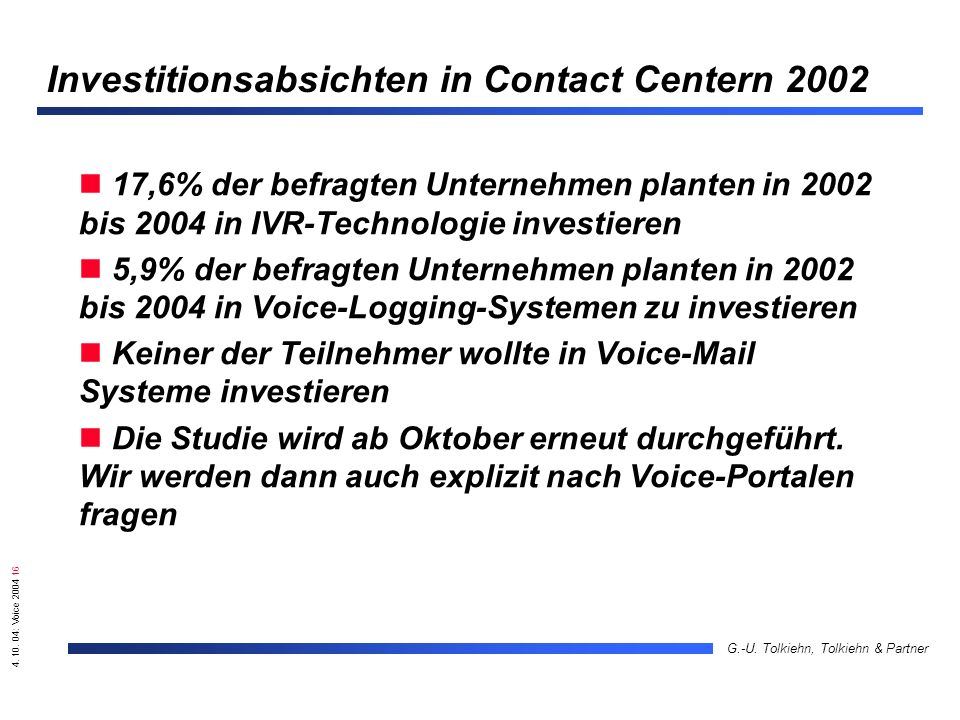 4. 10. 04: Voice 2004 16 G.-U. Tolkiehn, Tolkiehn & Partner Investitionsabsichten in Contact Centern 2002 17,6% der befragten Unternehmen planten in 2