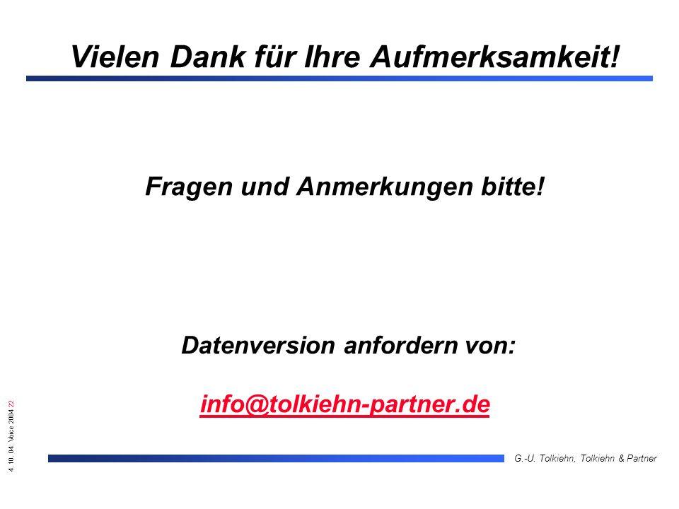 4. 10. 04: Voice 2004 22 G.-U. Tolkiehn, Tolkiehn & Partner Vielen Dank für Ihre Aufmerksamkeit! Fragen und Anmerkungen bitte! Datenversion anfordern