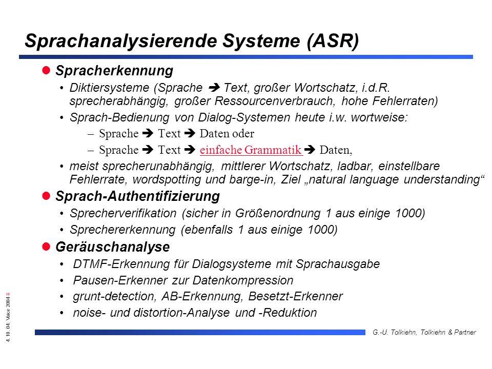 4. 10. 04: Voice 2004 8 G.-U. Tolkiehn, Tolkiehn & Partner Sprachanalysierende Systeme (ASR) Spracherkennung Diktiersysteme (Sprache Text, großer Wort