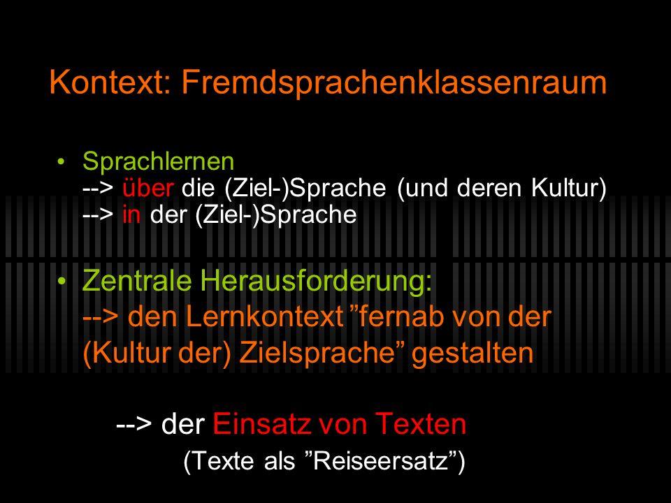 Kontext: Fremdsprachenklassenraum Sprachlernen --> über die (Ziel-)Sprache (und deren Kultur) --> in der (Ziel-)Sprache Zentrale Herausforderung: -->