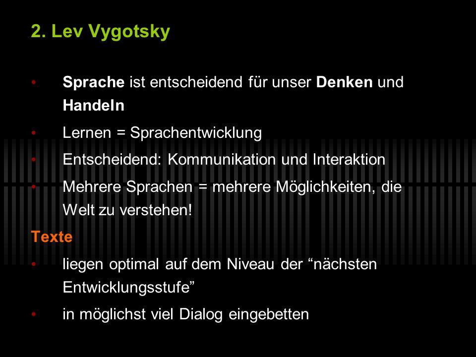 2. Lev Vygotsky Sprache ist entscheidend für unser Denken und Handeln Lernen = Sprachentwicklung Entscheidend: Kommunikation und Interaktion Mehrere S
