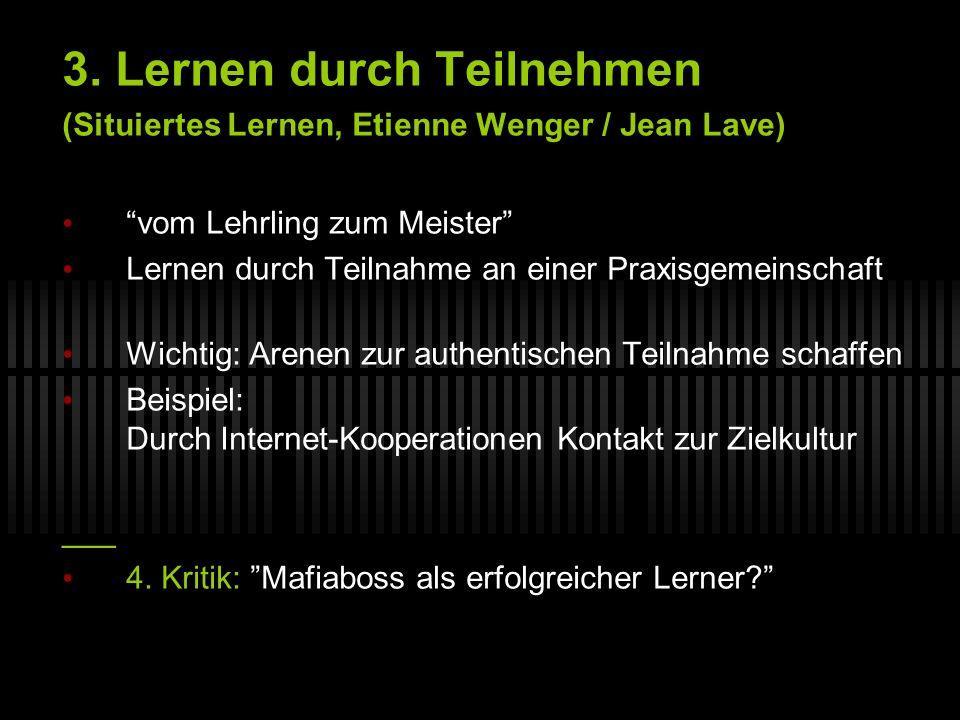 3. Lernen durch Teilnehmen (Situiertes Lernen, Etienne Wenger / Jean Lave) vom Lehrling zum Meister Lernen durch Teilnahme an einer Praxisgemeinschaft