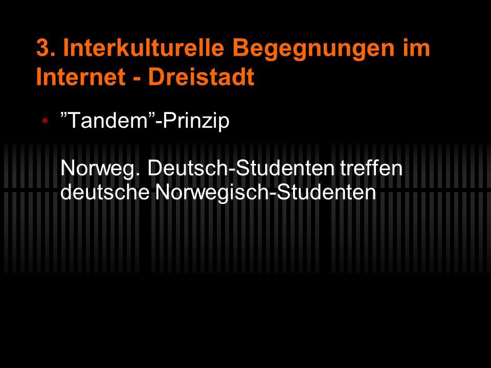 3. Interkulturelle Begegnungen im Internet - Dreistadt Tandem-Prinzip Norweg. Deutsch-Studenten treffen deutsche Norwegisch-Studenten