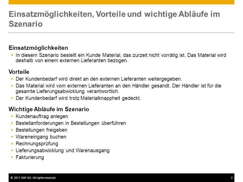 ©2011 SAP AG. All rights reserved.2 Einsatzmöglichkeiten, Vorteile und wichtige Abläufe im Szenario Einsatzmöglichkeiten In diesem Szenario bestellt e