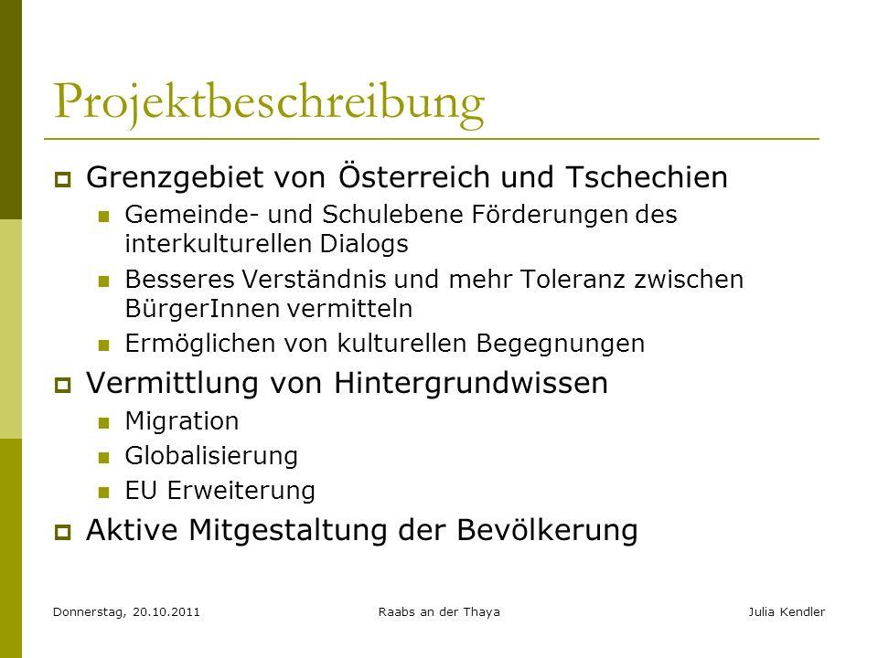Donnerstag, 20.10.2011Raabs an der ThayaJulia Kendler Projektbeschreibung Grenzgebiet von Österreich und Tschechien Gemeinde- und Schulebene Förderung