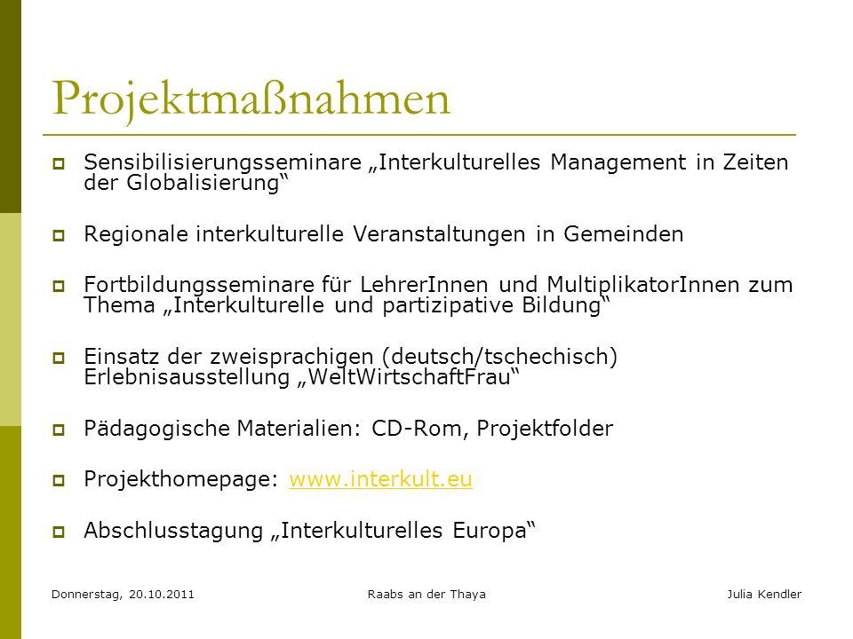 Donnerstag, 20.10.2011Raabs an der ThayaJulia Kendler Projektmaßnahmen Sensibilisierungsseminare Interkulturelles Management in Zeiten der Globalisier
