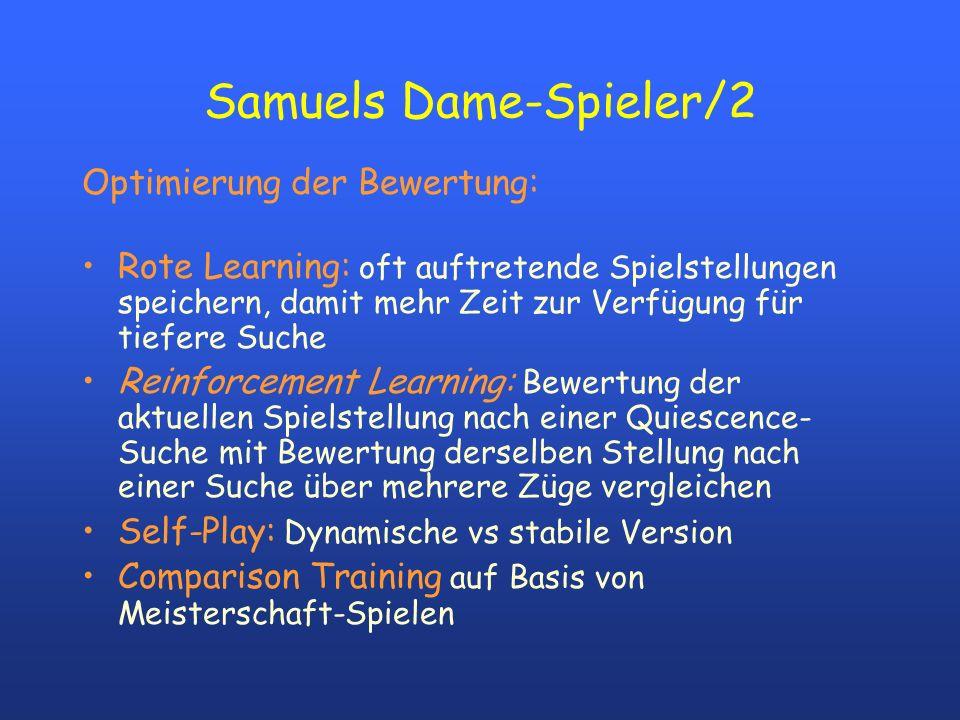 Samuels Dame-Spieler/2 Optimierung der Bewertung: Rote Learning: oft auftretende Spielstellungen speichern, damit mehr Zeit zur Verfügung für tiefere