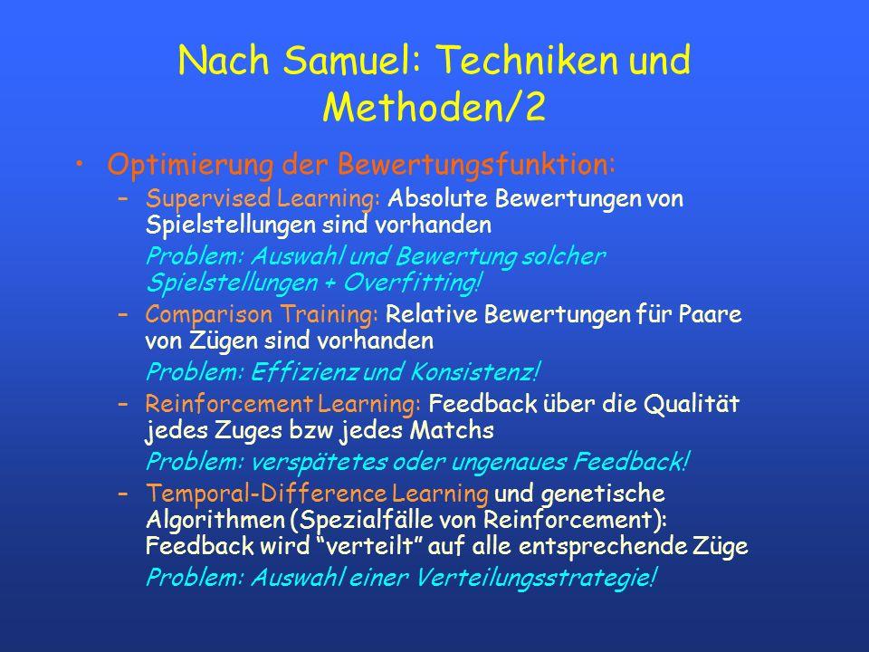 Nach Samuel: Techniken und Methoden/2 Optimierung der Bewertungsfunktion: –Supervised Learning: Absolute Bewertungen von Spielstellungen sind vorhanden Problem: Auswahl und Bewertung solcher Spielstellungen + Overfitting.