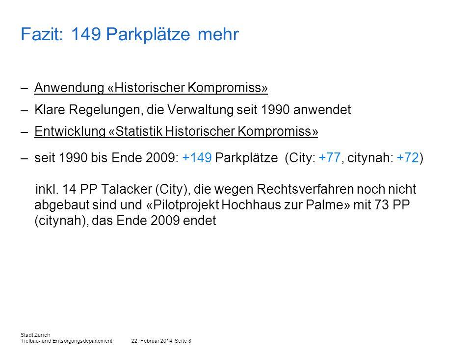 22. Februar 2014, Seite 8 Stadt Zürich Tiefbau- und Entsorgungsdepartement Fazit: 149 Parkplätze mehr –Anwendung «Historischer Kompromiss» –Klare Rege