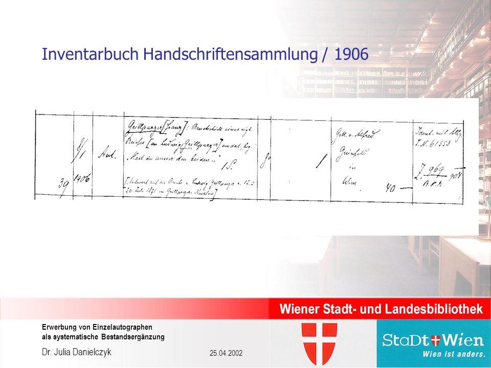 Dr. Julia Danielczyk Erwerbung von Einzelautographen als systematische Bestandsergänzung 25.04.2002 Inventarbuch Handschriftensammlung / 1906