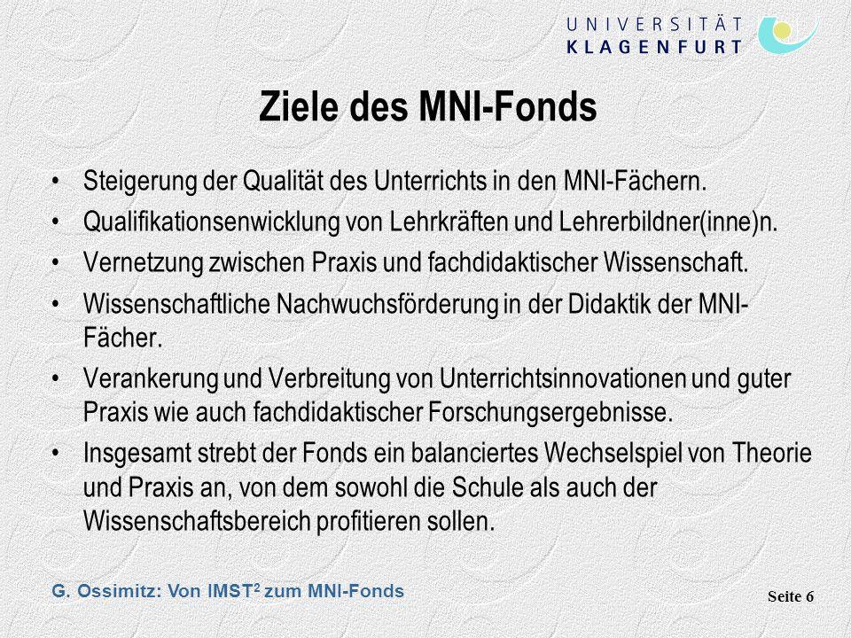 G. Ossimitz: Von IMST 2 zum MNI-Fonds Seite 6 Ziele des MNI-Fonds Steigerung der Qualität des Unterrichts in den MNI-Fächern. Qualifikationsenwicklung