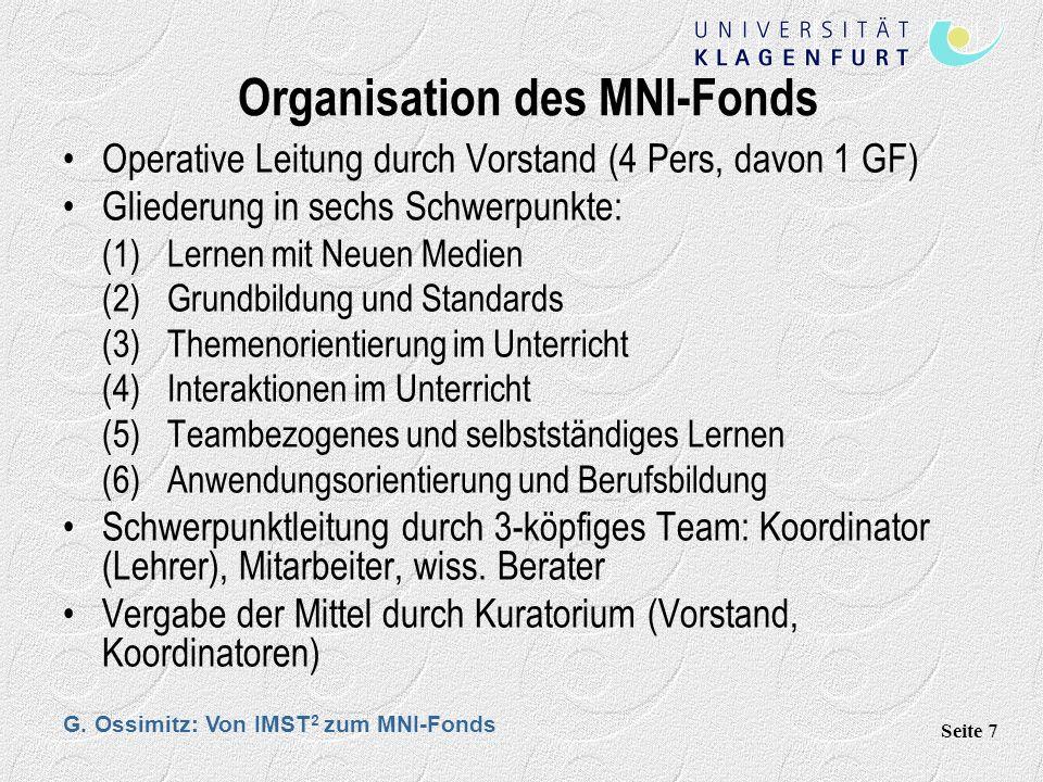 G. Ossimitz: Von IMST 2 zum MNI-Fonds Seite 7 Organisation des MNI-Fonds Operative Leitung durch Vorstand (4 Pers, davon 1 GF) Gliederung in sechs Sch
