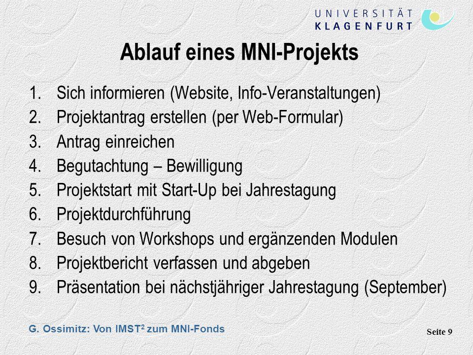 G. Ossimitz: Von IMST 2 zum MNI-Fonds Seite 9 Ablauf eines MNI-Projekts 1.Sich informieren (Website, Info-Veranstaltungen) 2.Projektantrag erstellen (