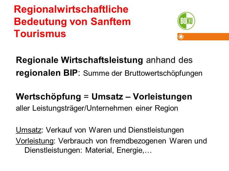 Regionalwirtschaftliche Bedeutung von Sanftem Tourismus Regionale Wirtschaftsleistung anhand des regionalen BIP: Summe der Bruttowertschöpfungen Werts