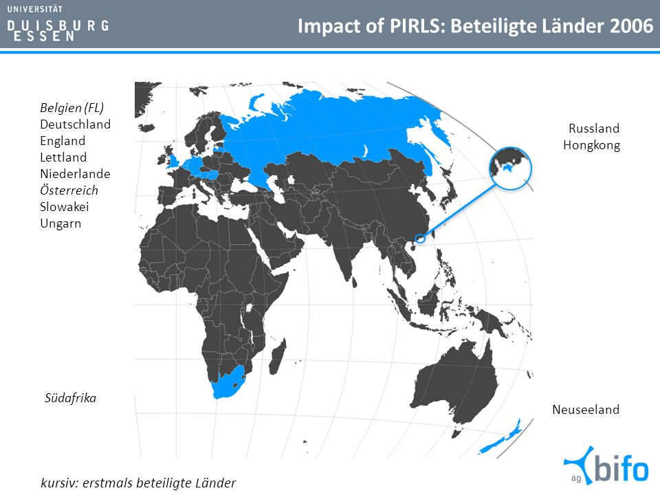 Impact of PIRLS: Beteiligte Länder 2006 14 Russland Hongkong Neuseeland Belgien (FL) Deutschland England Lettland Niederlande Österreich Slowakei Unga