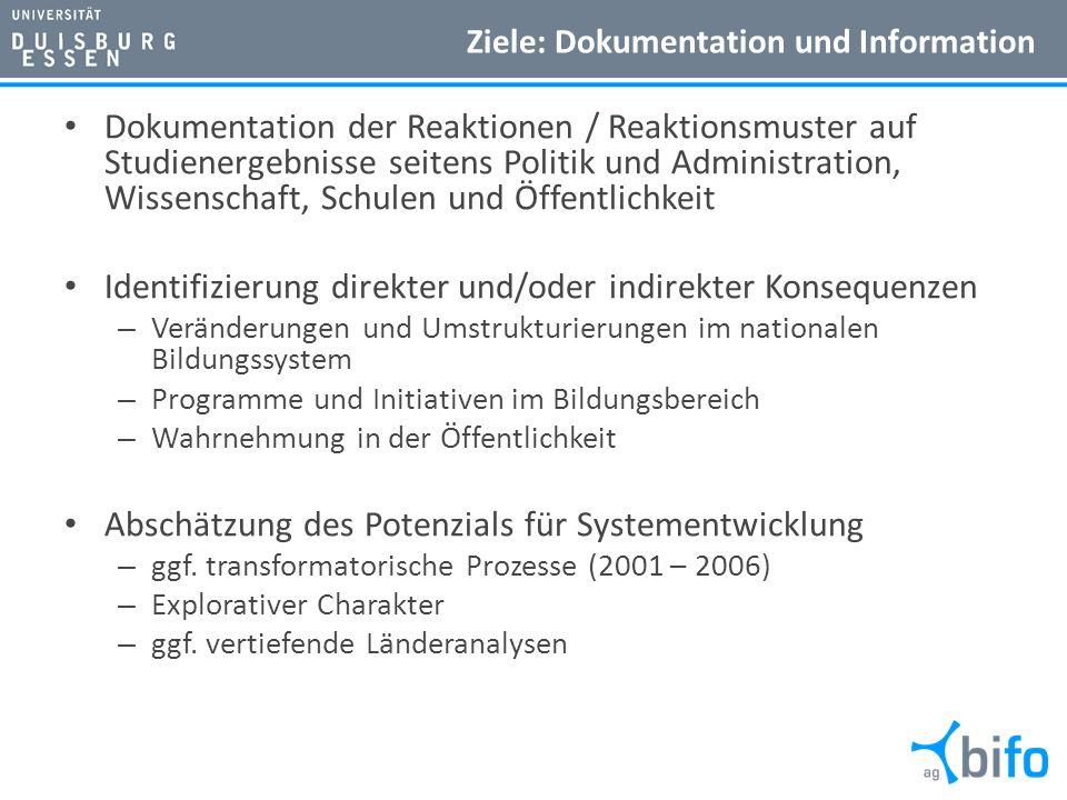 Ziele: Dokumentation und Information Dokumentation der Reaktionen / Reaktionsmuster auf Studienergebnisse seitens Politik und Administration, Wissensc