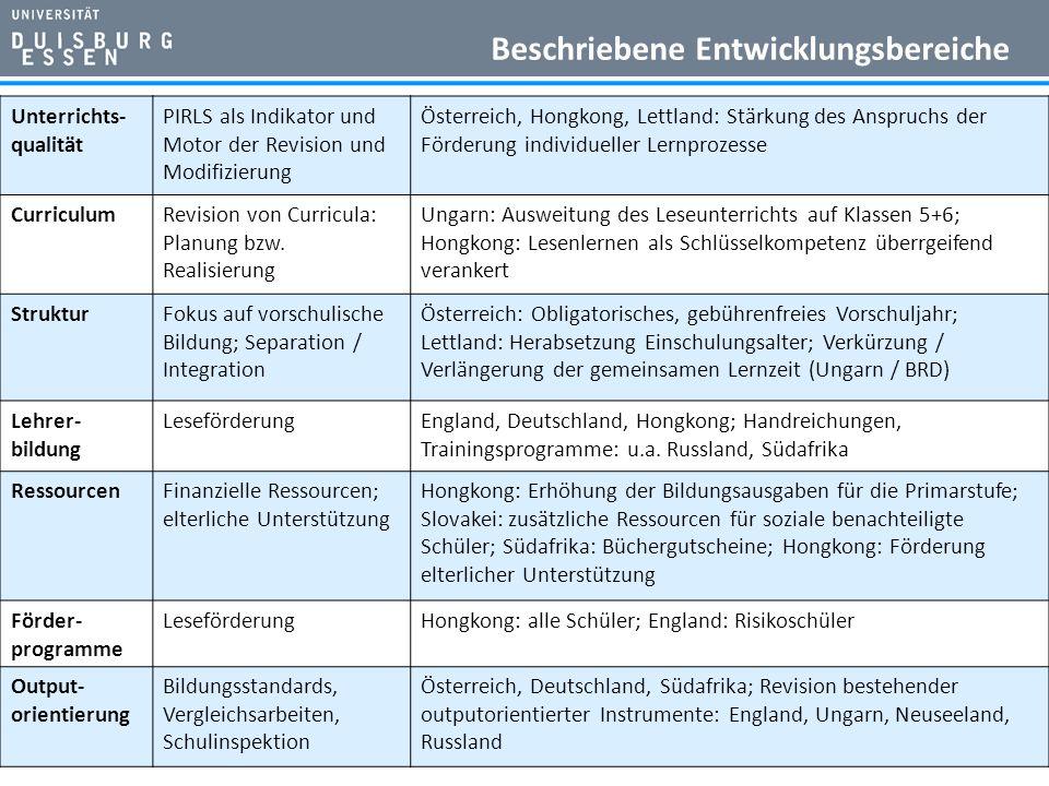 Unterrichts- qualität PIRLS als Indikator und Motor der Revision und Modifizierung Österreich, Hongkong, Lettland: Stärkung des Anspruchs der Förderung individueller Lernprozesse CurriculumRevision von Curricula: Planung bzw.