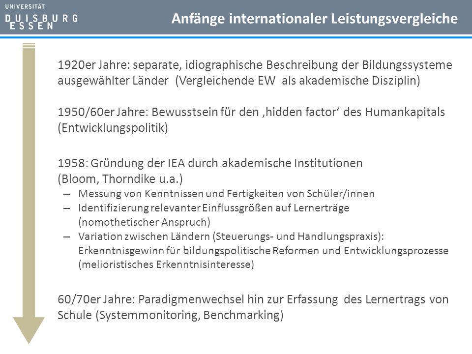 Anfänge internationaler Leistungsvergleiche 1920er Jahre: separate, idiographische Beschreibung der Bildungssysteme ausgewählter Länder (Vergleichende