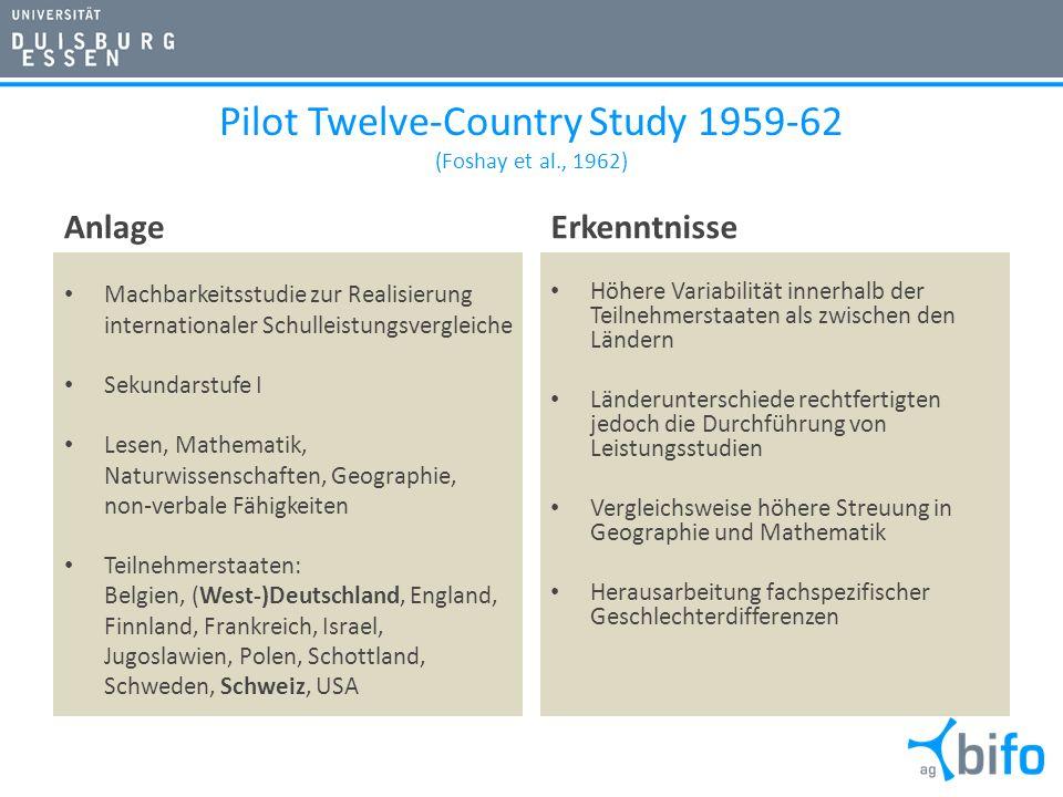 Pilot Twelve-Country Study 1959-62 (Foshay et al., 1962) Anlage Machbarkeitsstudie zur Realisierung internationaler Schulleistungsvergleiche Sekundars