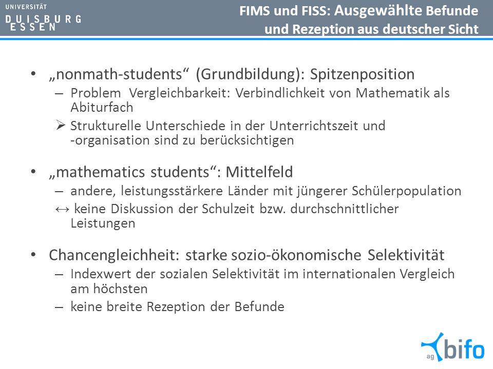 FIMS und FISS: Ausgewählte Befunde und Rezeption aus deutscher Sicht nonmath-students (Grundbildung): Spitzenposition – Problem Vergleichbarkeit: Verb