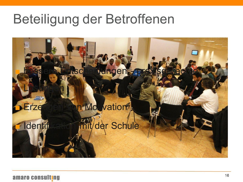 16 Beteiligung der Betroffenen bessere Entscheidungen - praxisgerechte Lösungen Erzeugen von Motivation Identifikation mit der Schule