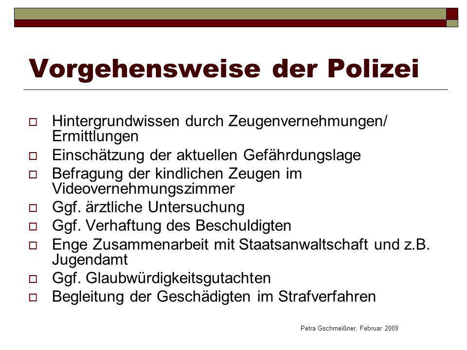 Vorgehensweise der Polizei Hintergrundwissen durch Zeugenvernehmungen/ Ermittlungen Einschätzung der aktuellen Gefährdungslage Befragung der kindliche