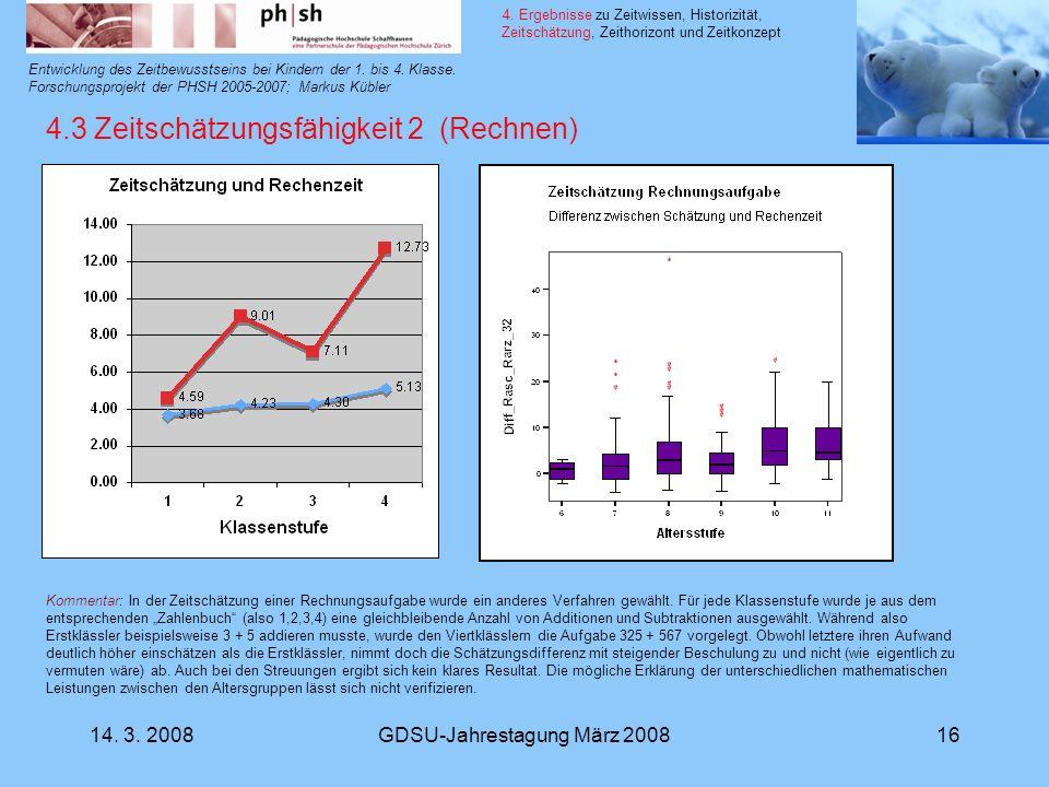 14. 3. 2008GDSU-Jahrestagung März 200816 Entwicklung des Zeitbewusstseins bei Kindern der 1. bis 4. Klasse. Forschungsprojekt der PHSH 2005-2007; Mark