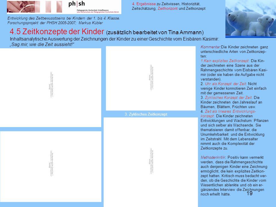 14. 3. 200819 Entwicklung des Zeitbewusstseins bei Kindern der 1. bis 4. Klasse. Forschungsprojekt der PHSH 2005-2007; Markus Kübler 4. Ergebnisse zu