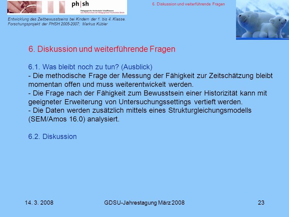 14. 3. 2008GDSU-Jahrestagung März 200823 Entwicklung des Zeitbewusstseins bei Kindern der 1. bis 4. Klasse. Forschungsprojekt der PHSH 2005-2007; Mark
