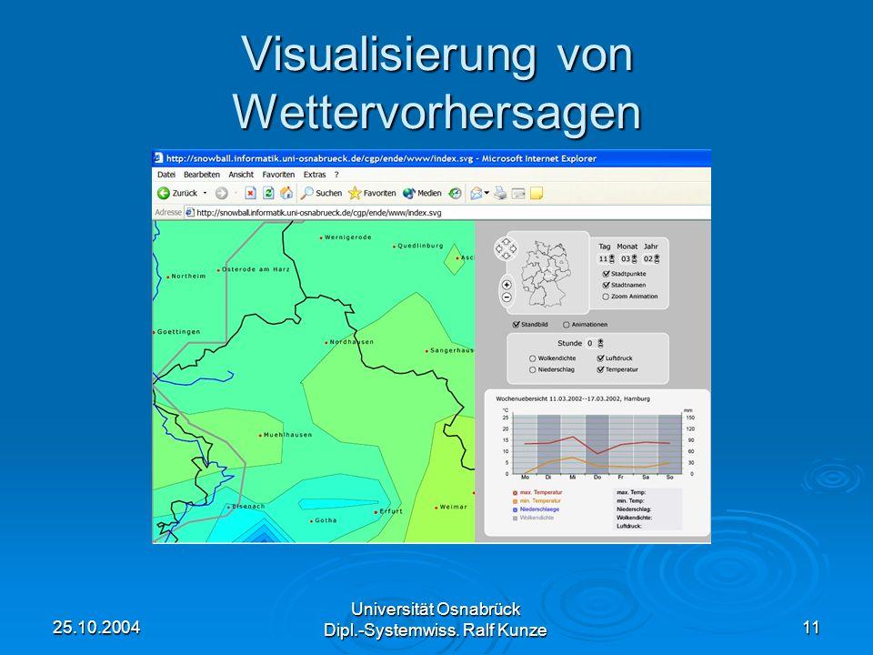 25.10.2004 Universität Osnabrück Dipl.-Systemwiss. Ralf Kunze 11 Visualisierung von Wettervorhersagen