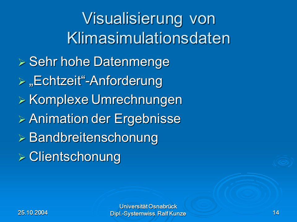 25.10.2004 Universität Osnabrück Dipl.-Systemwiss. Ralf Kunze 14 Visualisierung von Klimasimulationsdaten Sehr hohe Datenmenge Sehr hohe Datenmenge Ec