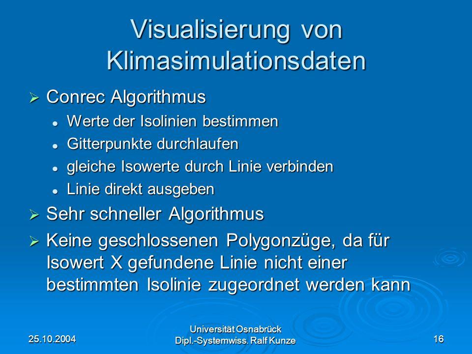 25.10.2004 Universität Osnabrück Dipl.-Systemwiss. Ralf Kunze 16 Visualisierung von Klimasimulationsdaten Conrec Algorithmus Conrec Algorithmus Werte