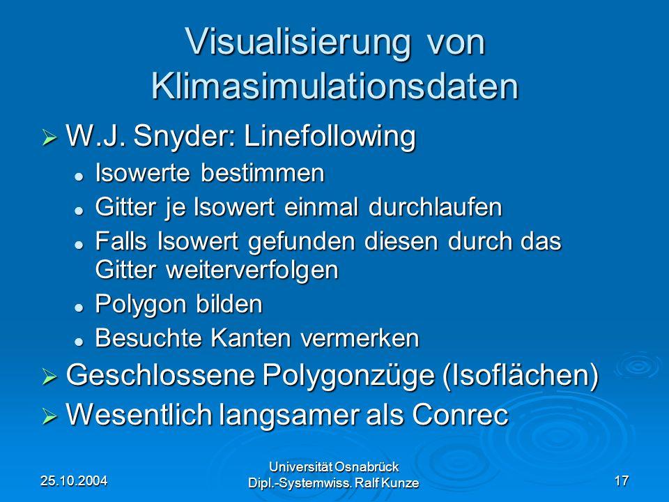 25.10.2004 Universität Osnabrück Dipl.-Systemwiss. Ralf Kunze 17 Visualisierung von Klimasimulationsdaten W.J. Snyder: Linefollowing W.J. Snyder: Line