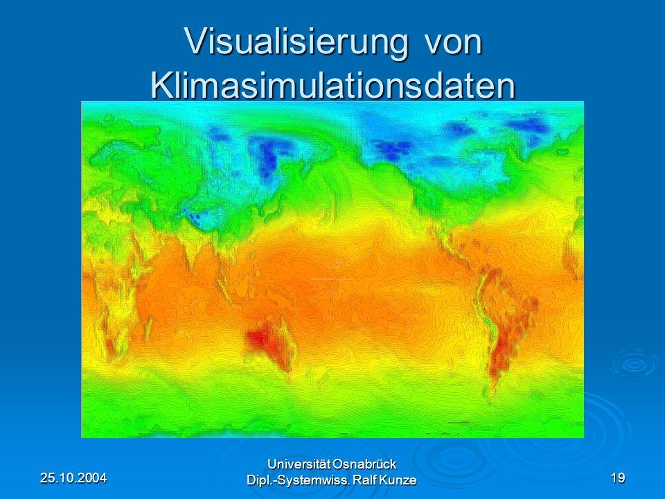 25.10.2004 Universität Osnabrück Dipl.-Systemwiss. Ralf Kunze 19 Visualisierung von Klimasimulationsdaten