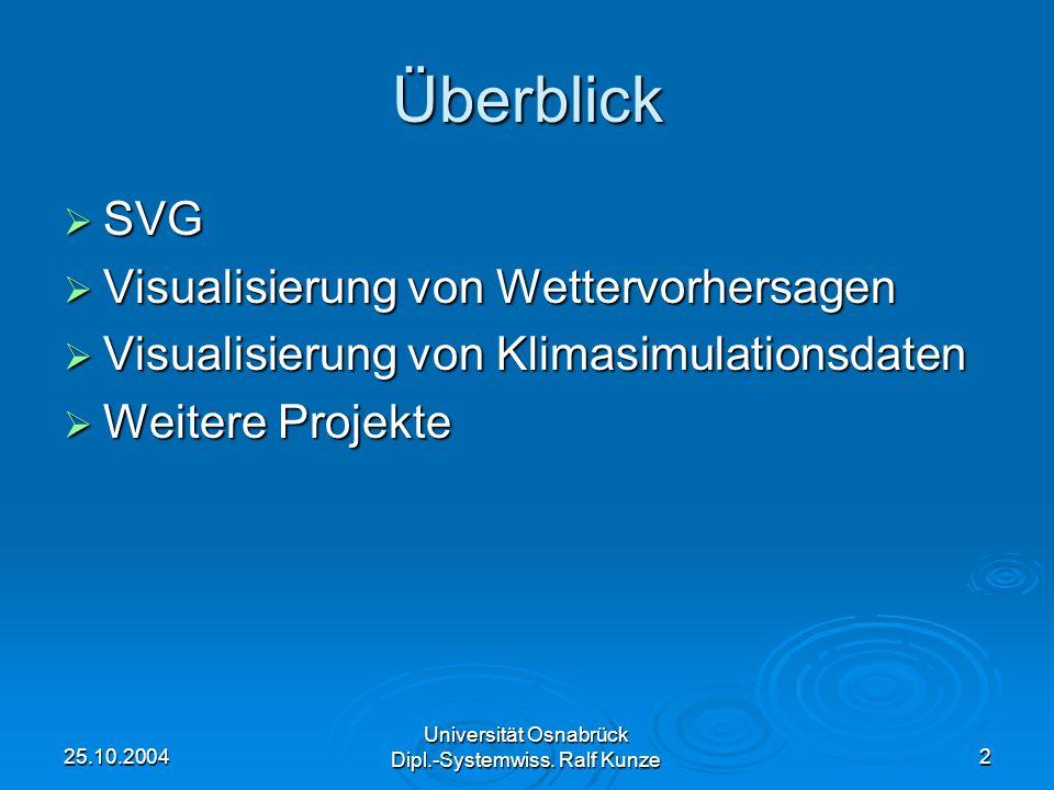 25.10.2004 Universität Osnabrück Dipl.-Systemwiss. Ralf Kunze 2 Überblick SVG SVG Visualisierung von Wettervorhersagen Visualisierung von Wettervorher