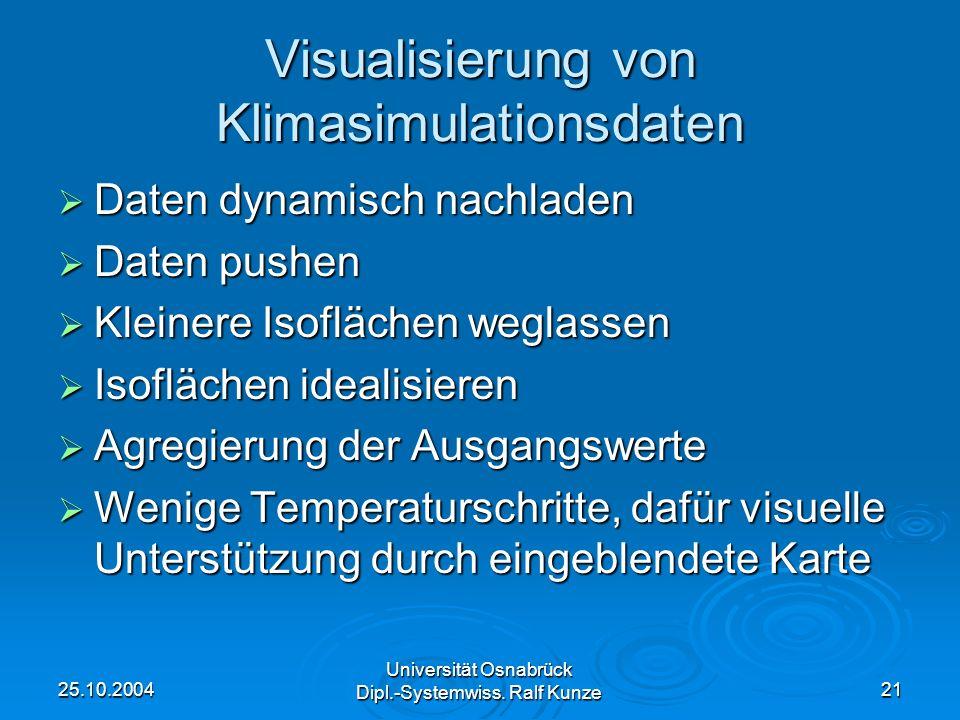 25.10.2004 Universität Osnabrück Dipl.-Systemwiss. Ralf Kunze 21 Visualisierung von Klimasimulationsdaten Daten dynamisch nachladen Daten dynamisch na